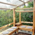 屋根付きのベンチを作りました。【ウエスタンレッドシダー施工例 s20191120】