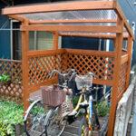 樋のある自転車置き場【ウエスタンレッドシダー施工例 s20150725-1】